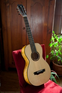 Maple Parlor Guitar with ebony appointments hand built by Jay Rosenblatt