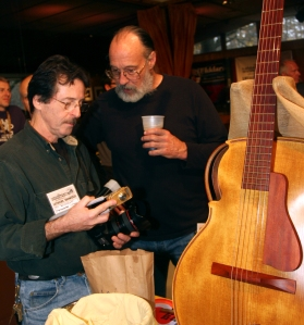 Me and Ken Parker looking at one of his Hand Made Lutherie tools. One of his newest Lightweight Archtops in the foreground. Photo © Jay Rosenblatt.