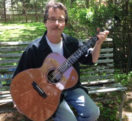 Jay Rosenblatt with Cocobolo and redwood handbuilt guitar