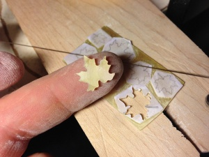 Hand cut MOP maple leaf