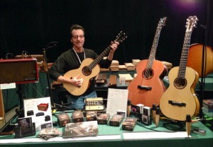 Showing my instruments and selling LR Baggs Pickups and Phil Jones Amps at the Woodstock Invitational Luthiers Showcase in Woodstock, NY this past October, 2013.