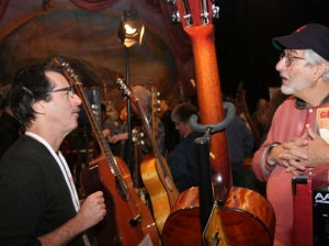 Chatting it up at the Woodstock Invitational Luthiers Showcase