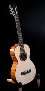 Amber Quilted Maple Parlor Guitar by Jay Rosenblatt. © Jay Rosenblatt