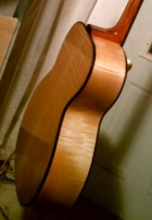 Maple leaf Guitar waiting for final buffing. Photo by finisher and Luthier Tony DiDomenico. ©Jay Rosenblatt