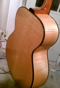 Maple Leaf Guitar waiting for final buffing. Photo by finisher and luthier Tony DiDomenico. © Jay Rosenblatt