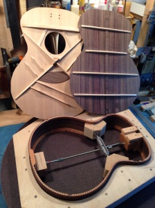 Top, back and sides ready to be assembled in this East Indian Rosewood Guitar by Jay Rosenblatt