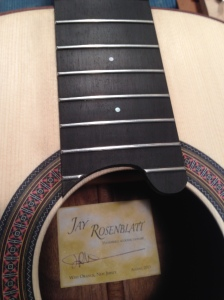 Parlor Guitar of Americam=n walnut, red spruce soundboard, mahogany neck, slotted headstock by Jay Rosenblatt