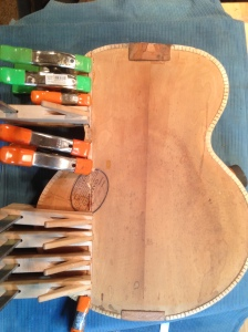 Split back repaired on 1937 Gibson L-4 Archtop