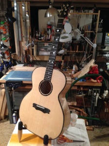 Maple and Lutz Spruce Large Body Maple Motif Acoustic Guitar by Luthier Jay Rosenblatt