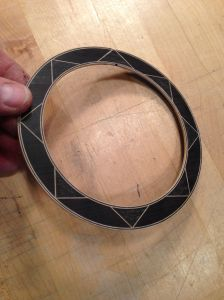 Geometric Rosette is assembled ready to be installed around the sound hole.