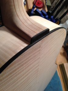 Rear view of Laminated Neck, heel joint. Neck is fitted for proper angle and playability.
