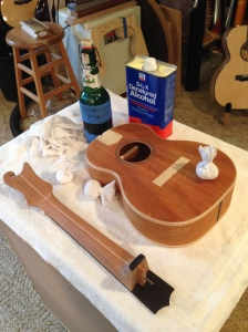 Ukelele getting hand rubbed French Polish shellac finish  Jay © Jay Rosenblatt