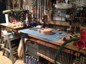 Parlor Guitar on workbench © Jay Rosenblatt