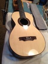 Bridge test fit prior to gluing on Parlor guitar © Jay Rosenblatt