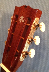 Cedar Slotted parlor guitar headstock © Jay Rosenblatt