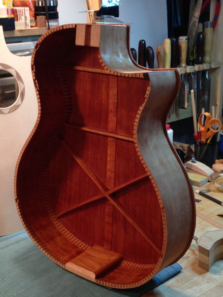 Hybrid mahogany  X/ladder bracing design on Jay Rosenblatt Guitar