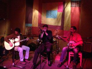Enjoying the fruit of my labors at Hat City Kitchen's All Acoustic Open Mic, Orange, NJ