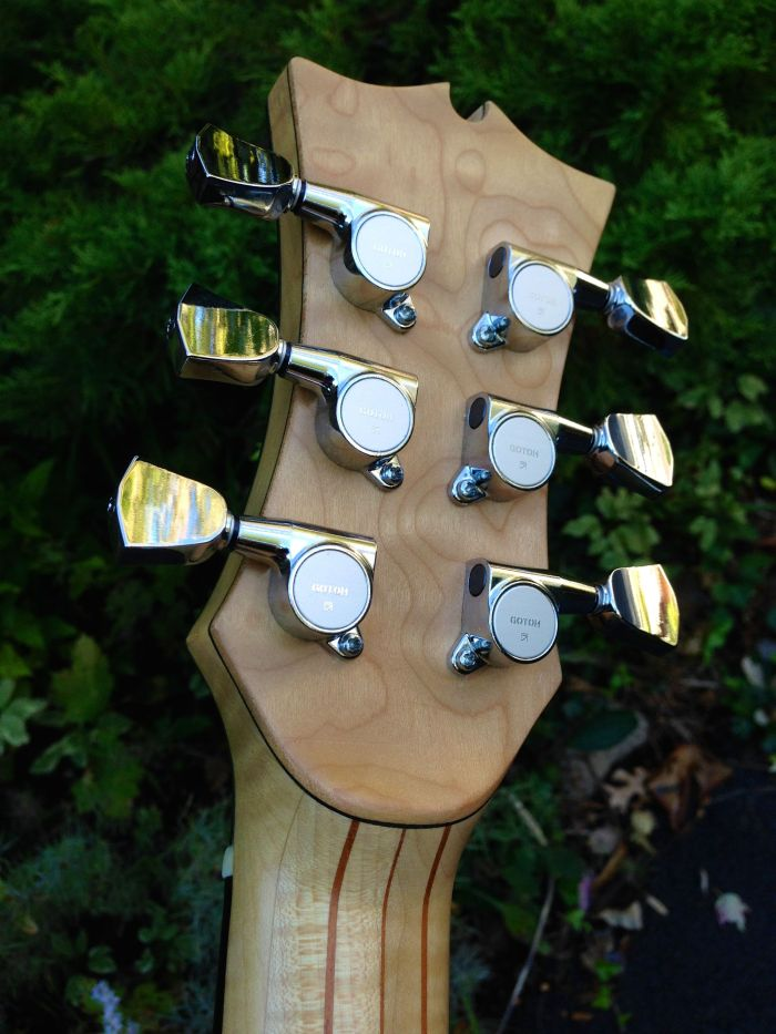 Reverse of Headstock on Maple guitar by Jay Rosenblatt