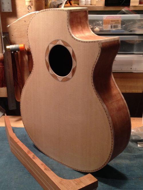 Mahogany Cutaway guitar ready for neck by Jay Rosenblatt luthier