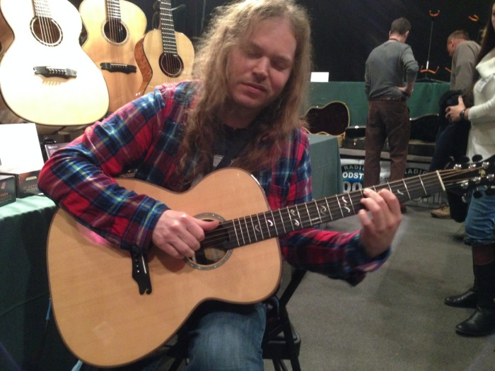 JR Rogers creator of Acoustic Guitar Forum testing out a Jay Rosenblatt Guitar.