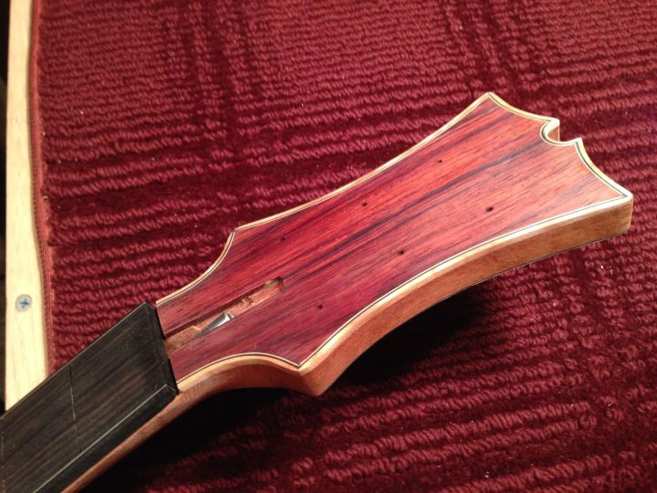 Completed Cocobolo and Maple Acoustic headstock