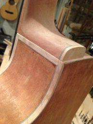 Detail of Neck/ body connection on a Jay Rosenblatt Cutaway model guitar