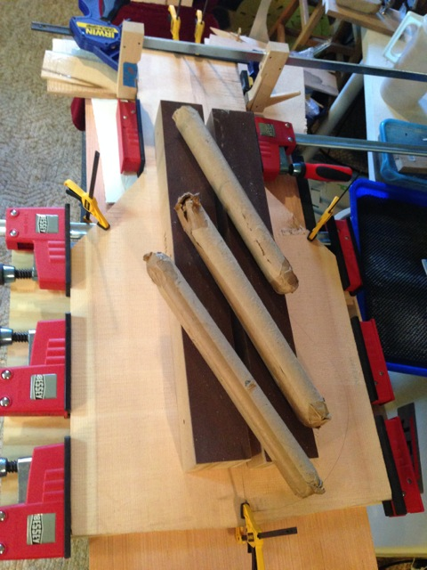 The spruce top plates were jointed and clamped together