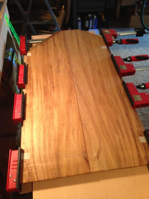 The Koa back plates being joined
