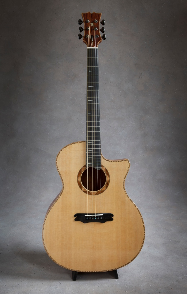 hand built mahogany venetian cutaway acoustic guitar with Sitka Soundboard by Jay Rosenblatt
