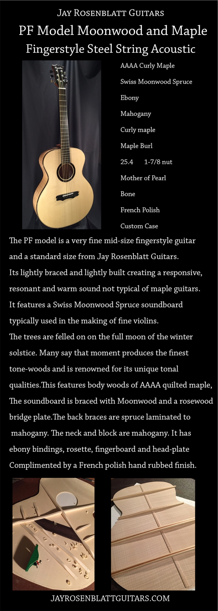 Jay Rosenblatt Guitar PF Model in Moonwood with maple and mahogany.