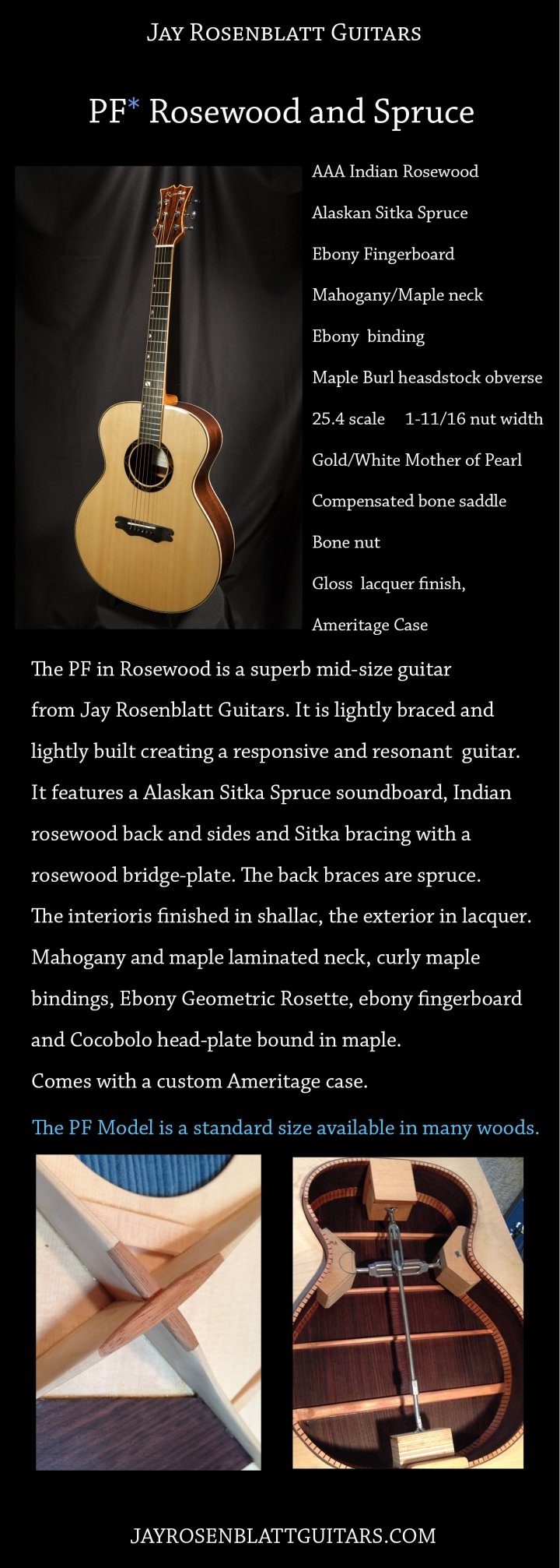 PF Model in Rosewood. Jay Rosenblatt Guitars.