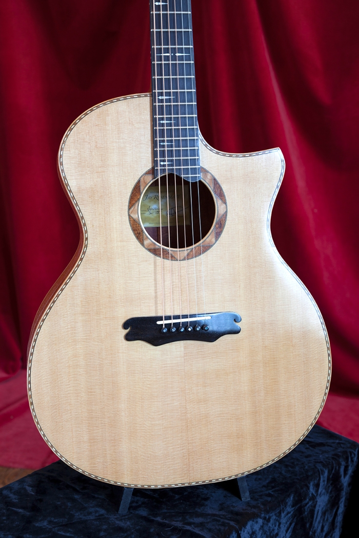 Ribbon Stripe African Mahogany with Sitka Spruce cutaway acoustic guitar by Jay Rosenblatt