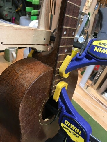 Resetting neck joint on tenor guitar